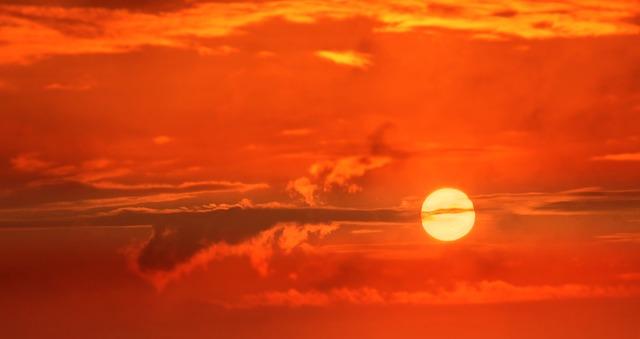 夕日と西日